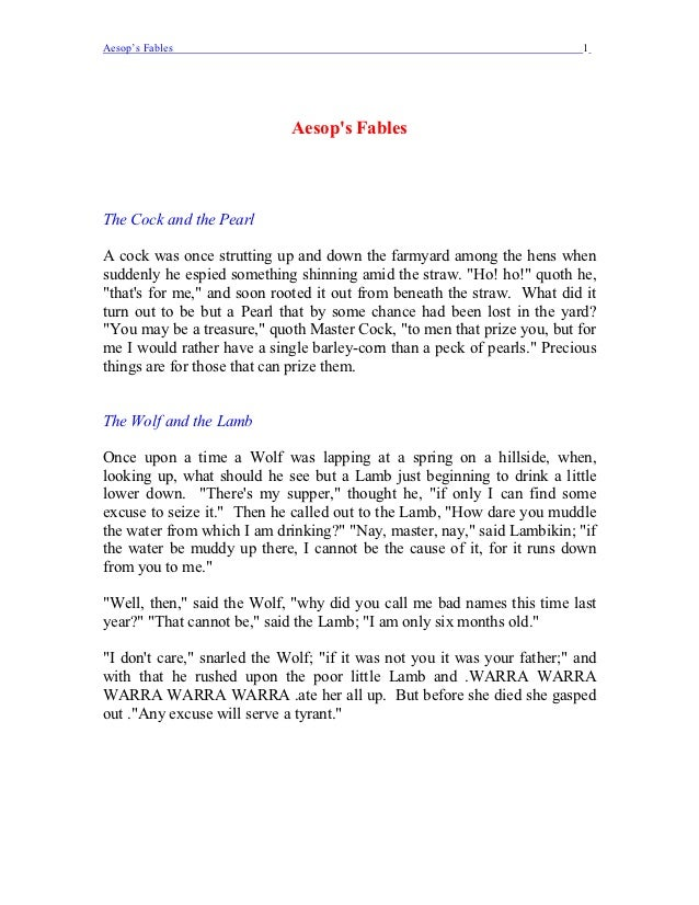 Aesop's Fables                                                            1                             Aesops FablesThe C...