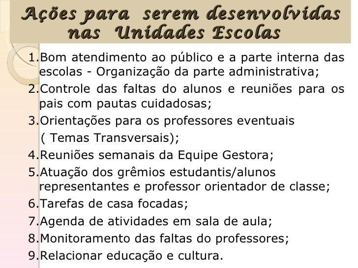 Ações para serem desenvolvidas    nas Unidades Escolas1.Bom atendimento ao público e a parte interna das  escolas - Organi...