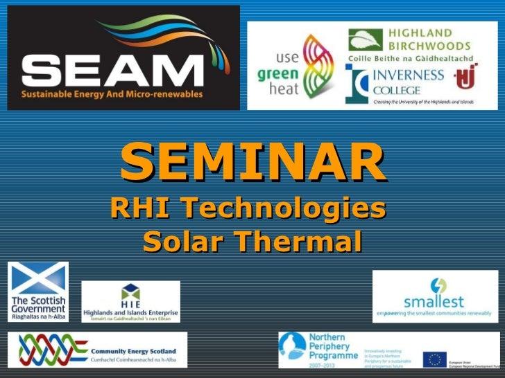 SEMINAR RHI Technologies  Solar Thermal
