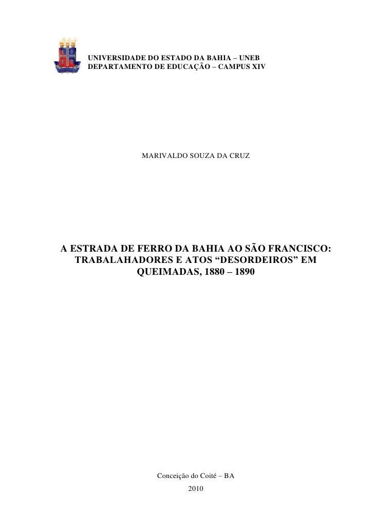UNIVERSIDADE DO ESTADO DA BAHIA – UNEB    DEPARTAMENTO DE EDUCAÇÃO – CAMPUS XIV               MARIVALDO SOUZA DA CRUZA EST...