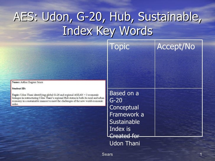 AES: Udon, G-20, Hub, Sustainable, Index Key Words Based on a G-20 Conceptual Framework a Sustainable Index is Created for...