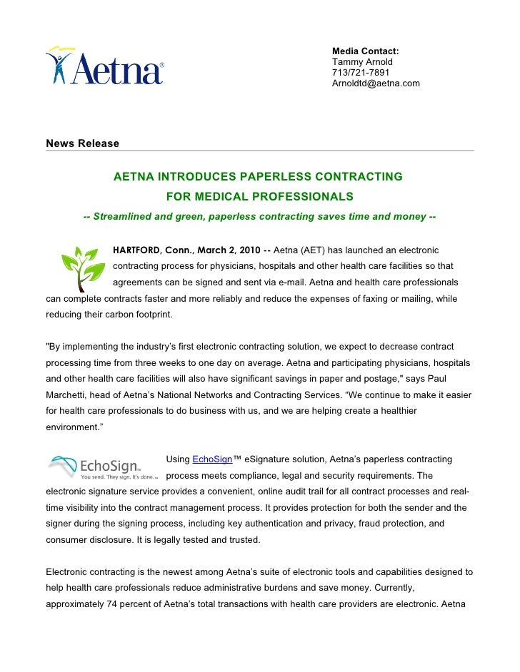 Aetna paperless contracting echo sign 03 02-10 final