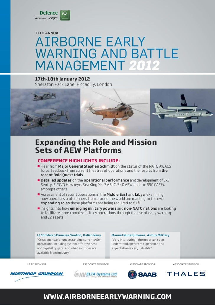 11Th ANNuAL    Airborne eArly    WArning And bAttle    MAnAgeMent 2012    17th-18th January 2012    Sheraton park Lane, pi...