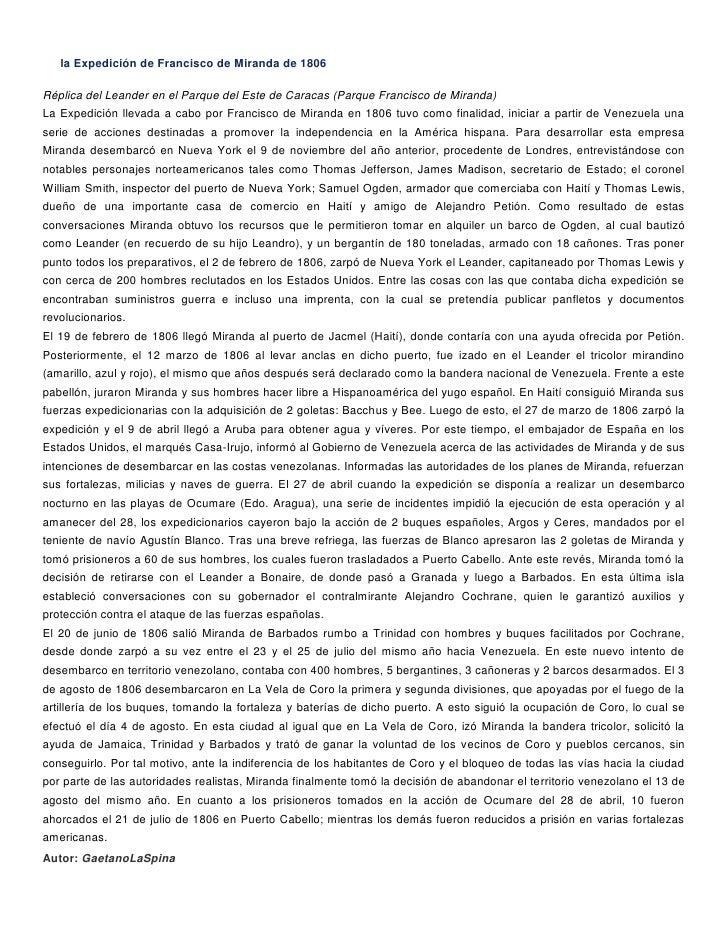 la Expedición de Francisco de Miranda de 1806Réplica del Leander en el Parque del Este de Caracas (Parque Francisco de Mir...