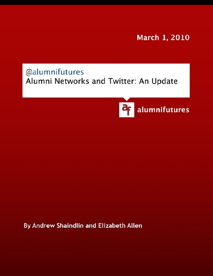 Alumni Networks and Twitter: An Update