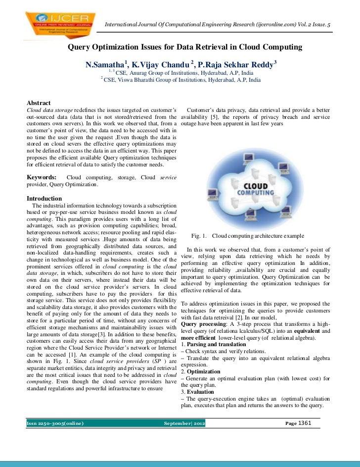 International Journal Of Computational Engineering Research (ijceronline.com) Vol. 2 Issue. 5                  Query Optim...