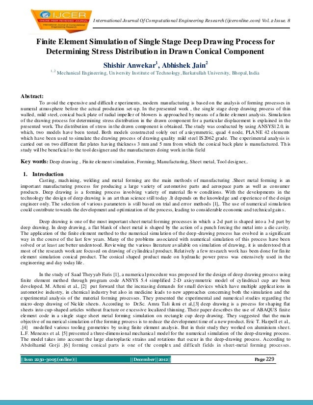 I nternational Journal Of Computational Engineering Research (ijceronline.com) Vol. 2 Issue. 8       Finite Element Simula...