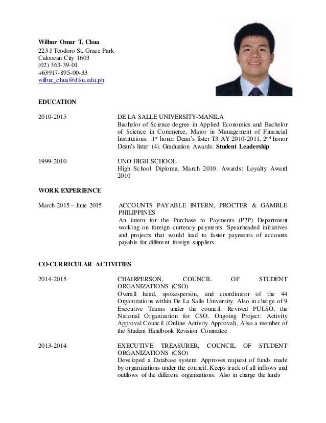 dlsu resume format resume format