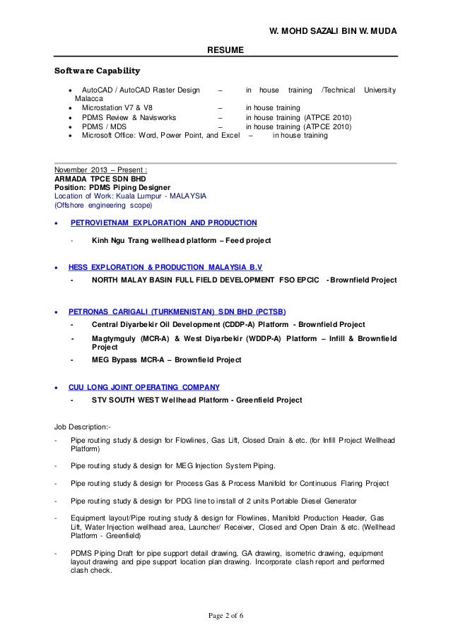 resume wan sazali pdms piping designer