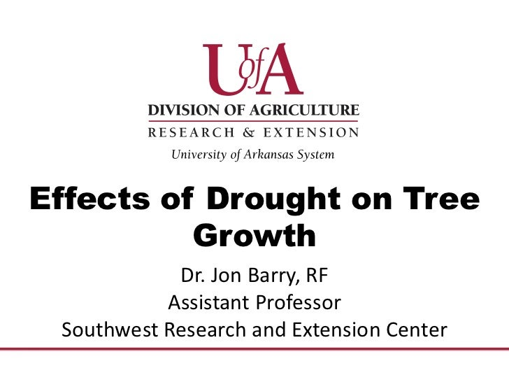 Effects of Drought on Tree          Growth            Dr. Jon Barry, RF           Assistant Professor Southwest Research a...