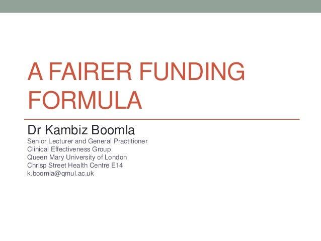 A fairer funding formula
