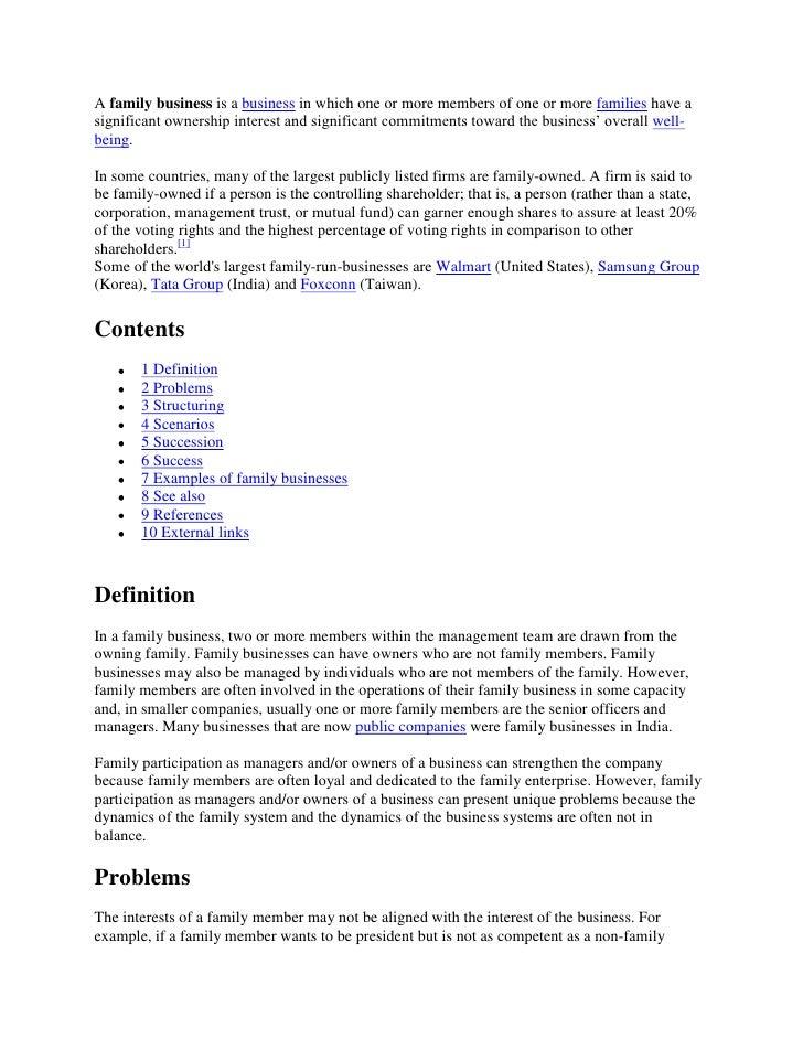 family business essay