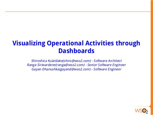 Visualizing Operational Activities through Dashboards Shiroshica Kulatilake(shiro@wso2.com) - Software Architect Ranga Sir...
