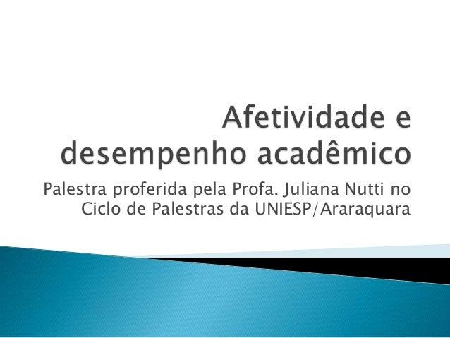 Palestra proferida pela Profa. Juliana Nutti no     Ciclo de Palestras da UNIESP/Araraquara