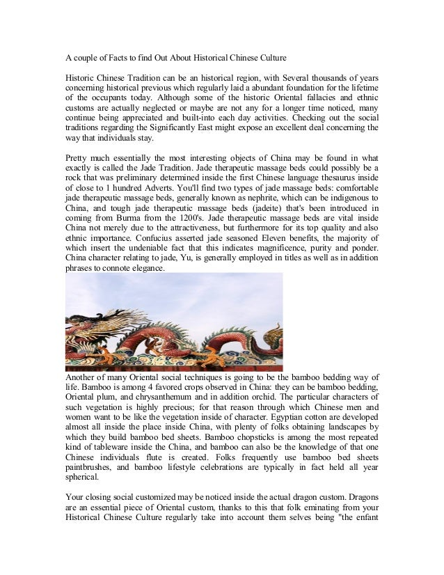 A Few Facts To Find Out About Ancient Chinese Culture