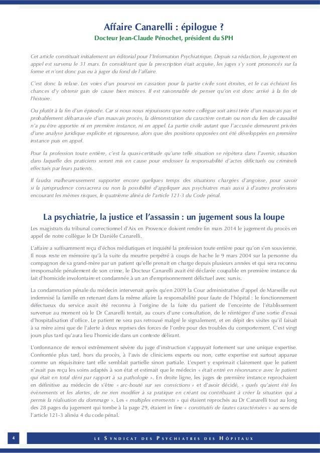 L E S Y N D I C A T D E S P S Y C H I A T R E S D E S H Ô P I T A U X4 Affaire Canarelli : épilogue ? Docteur Jean-Claude ...