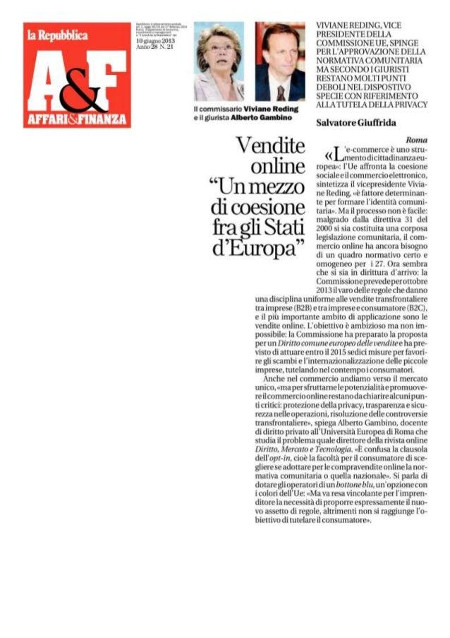 Vendite online un mezzo di coesione tra gli stati d'Europa