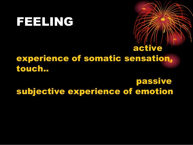 FEELING active experience of somatic sensation, touch.. passive subjective experience of emotion