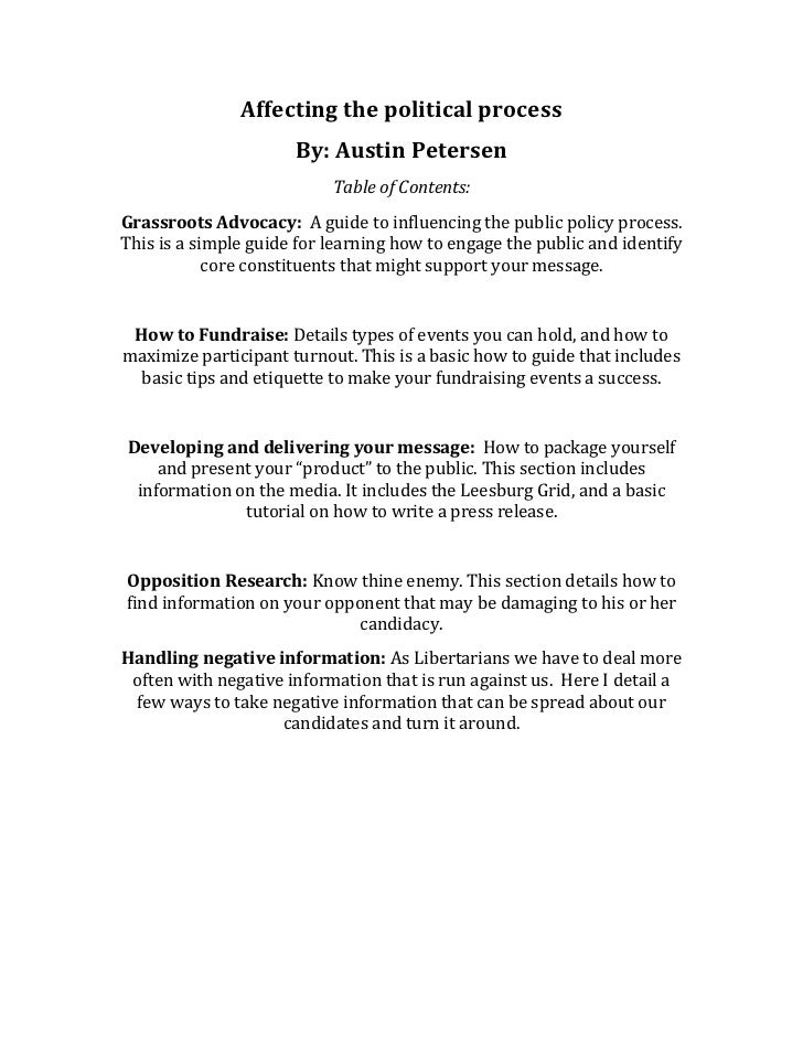 Affecting the political process                      By: Austin Petersen                           Table of Contents:Grass...