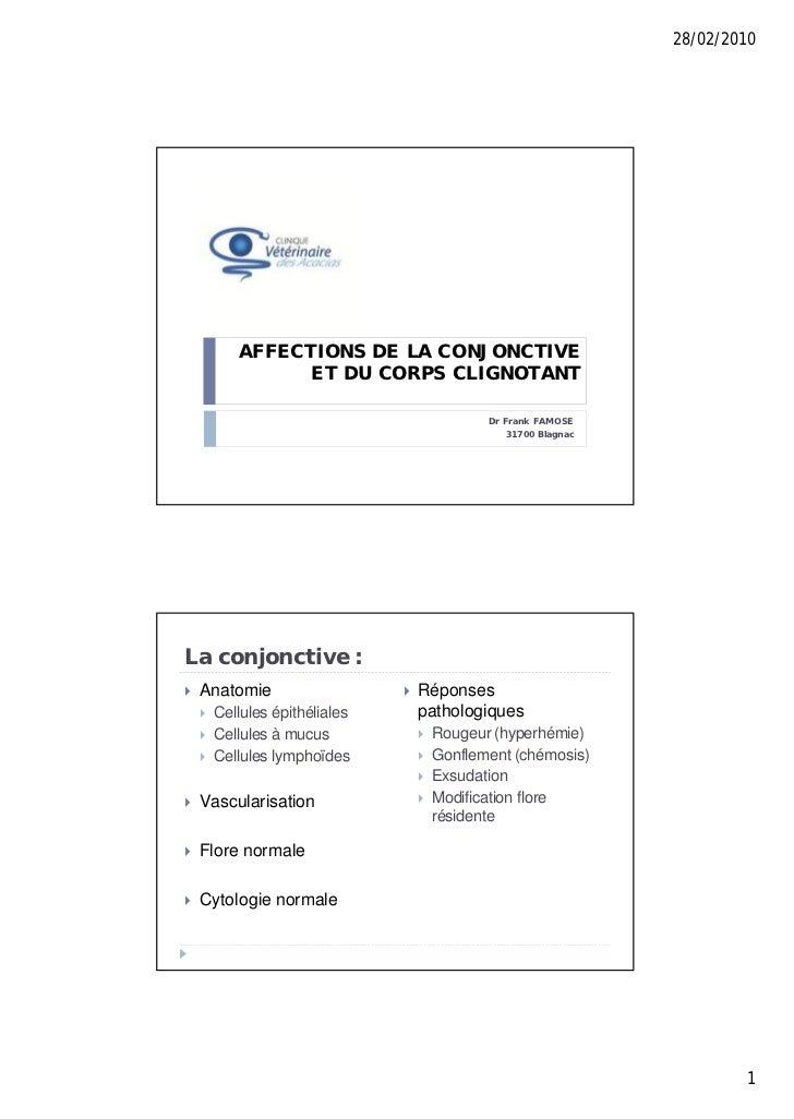28/02/2010           AFFECTIONS DE LA CONJONCTIVE                 ET DU CORPS CLIGNOTANT                                  ...