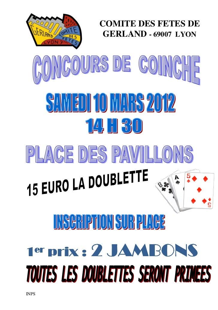 COMITE DES FETES DE              GERLAND - 69007 LYON1er prix :   2 JAMBONSINPS