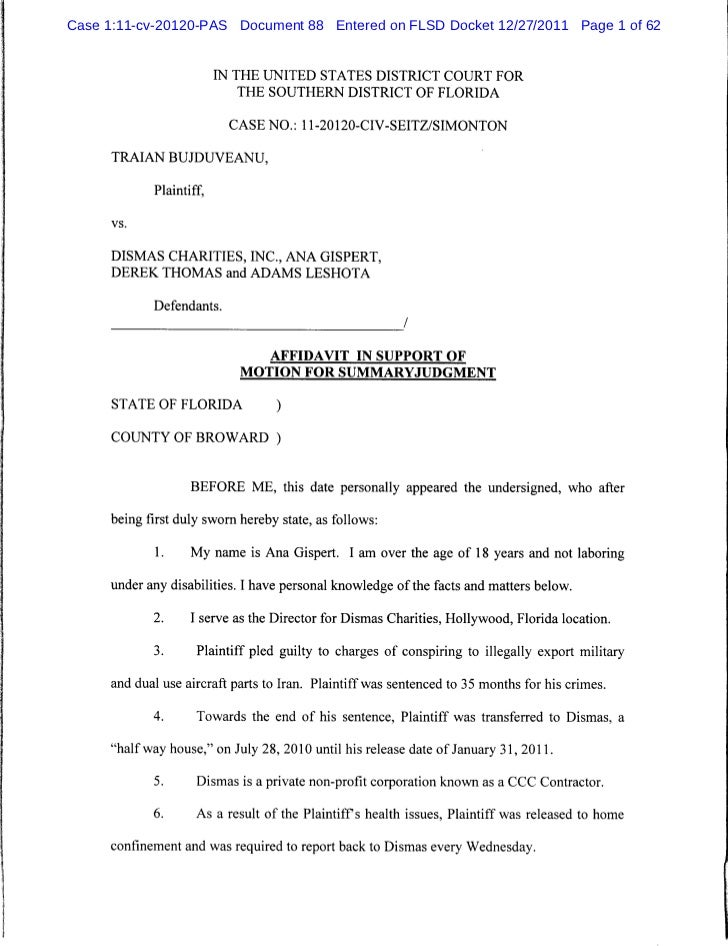 Affidavit In Support Of Motion For Summary Judgment2