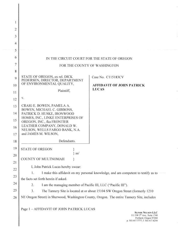 J Patrick Lucas Affidavit  10 11-11
