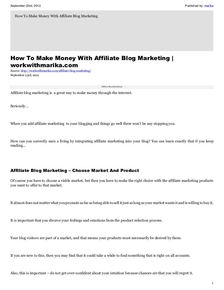 How To Make Money With Affiliate Blog Marketing