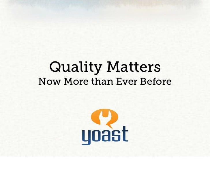 Affiliatedag 2011 - Quality Matters (in Dutch)