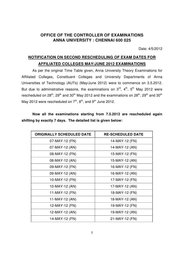 NOTIFICATION ON SECOND RESCHEDULING OF EXAM DATES FOR AFFILIATED COLLEGES MAY/JUNE 2012 EXAMINATIONS