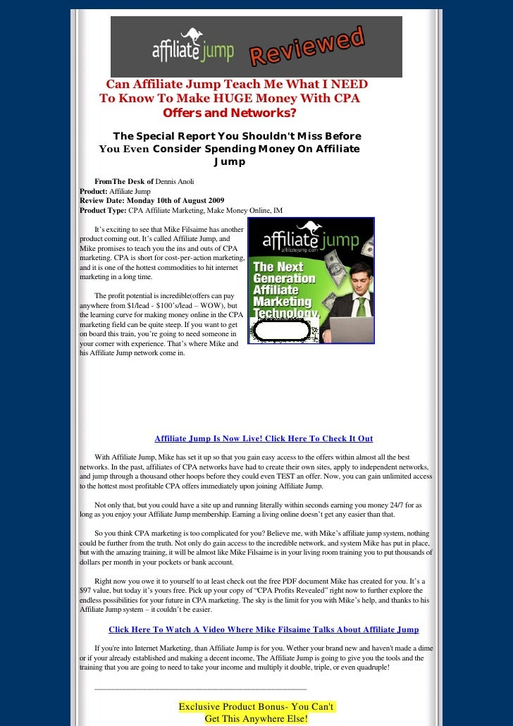 Affiliate Jump Review And Bonus Updated August 15, 2009 1:00