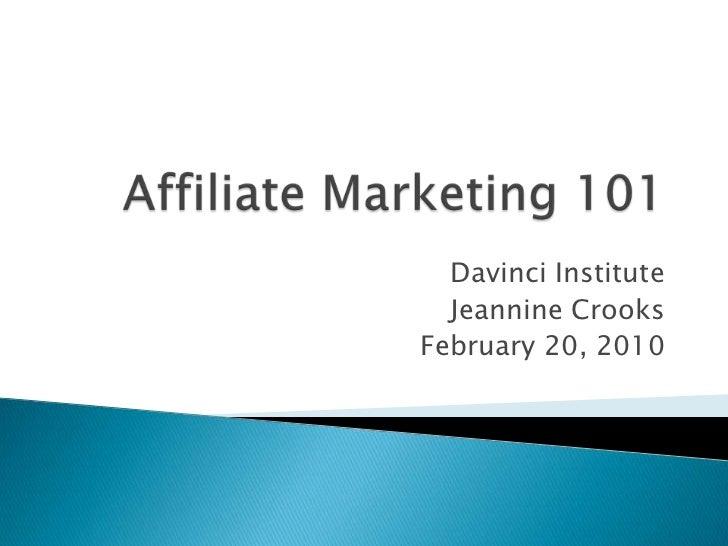 Davinci Institute  Jeannine CrooksFebruary 20, 2010