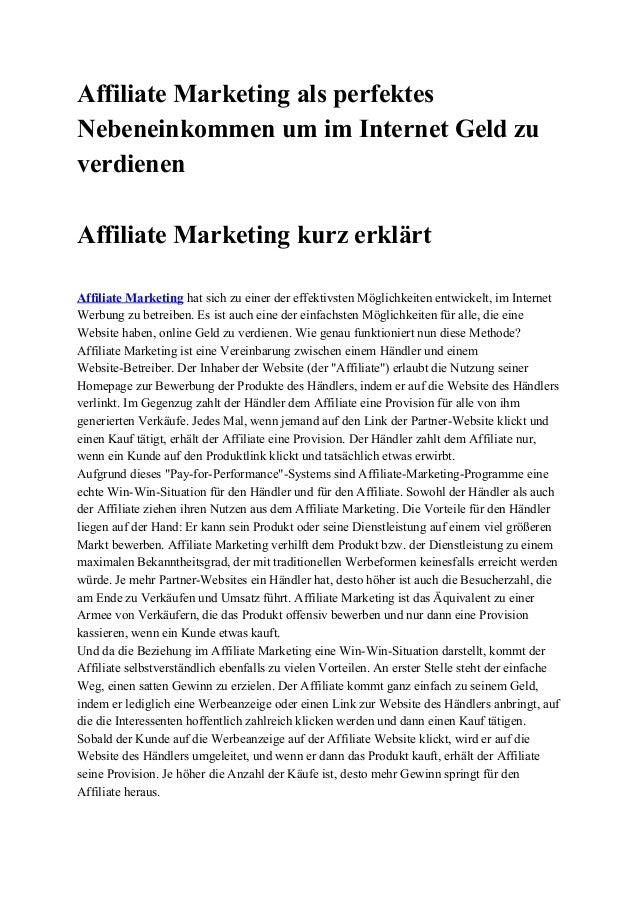 AffiliateMarketingalsperfektes NebeneinkommenumimInternetGeldzu verdienen  AffiliateMarketingkurzerklärt ...