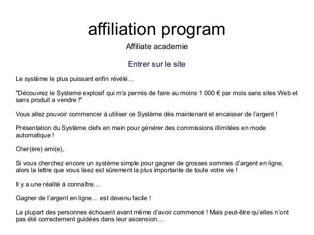 """affiliation programAffiliate academieEntrer sur le siteLe système le plus puissant enfin révélé…""""Découvrez le Systeme expl..."""