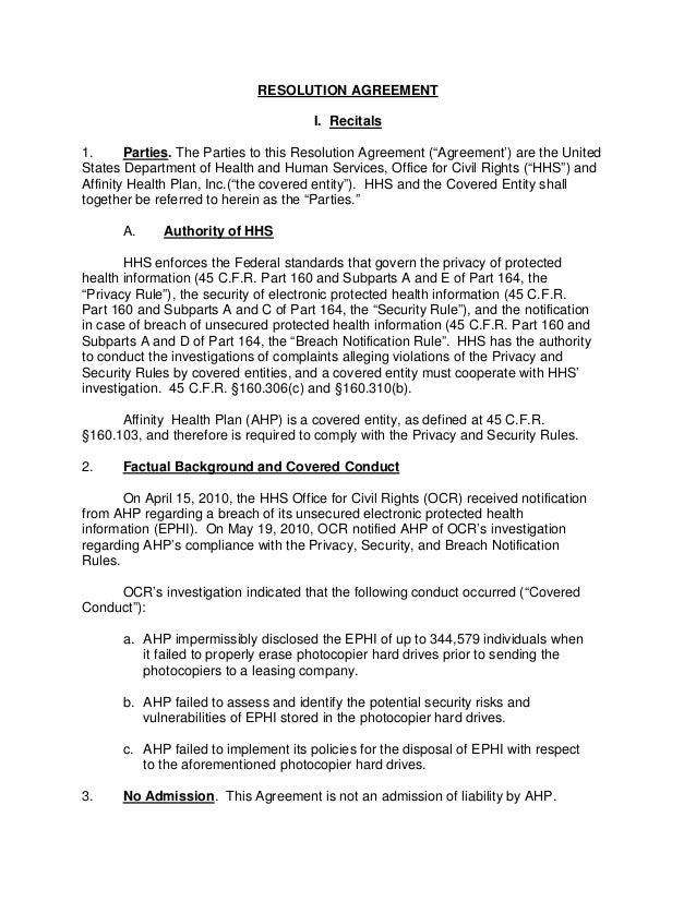 "RESOLUTION AGREEMENT I. Recitals 1. Parties. The Parties to this Resolution Agreement (""Agreement') are the United States ..."