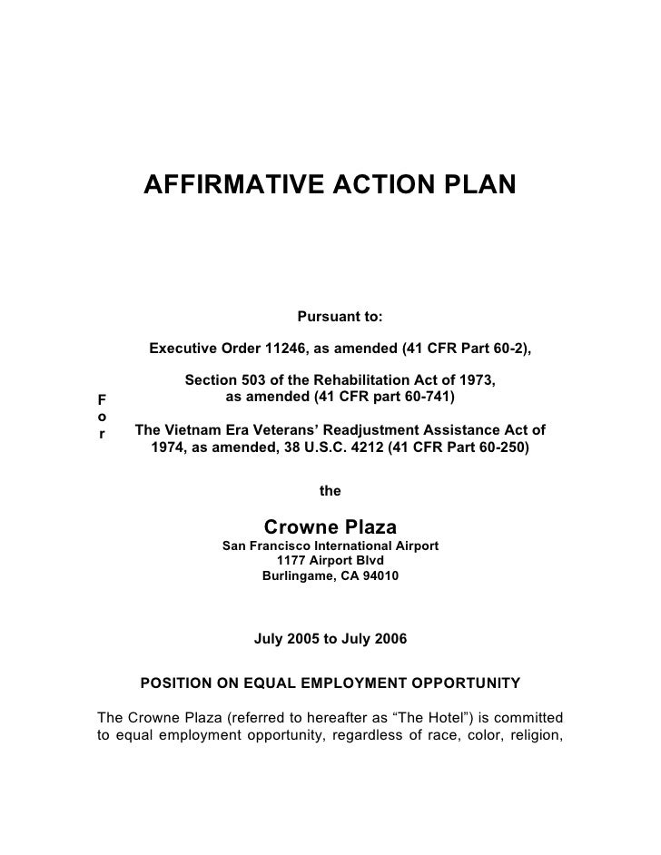 AFFIRMATIVE ACTION PLAN                                  Pursuant to:         Executive Order 11246, as amended (41 CFR Pa...