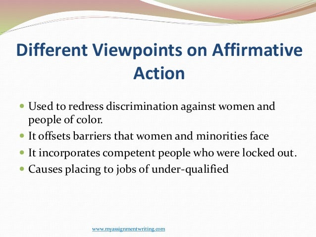 thesis for affirmative action Affirmative action was originally conceived to support equality amongst different nationalities, races, sexes and other individualizing groups.