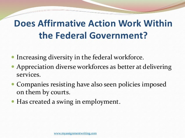 affirmative action short essay 6 What is affirmative action affirmative action is an action or policy favoring those who tend to suffer from discrimination, esp in relation to employment or education positive discrimination.