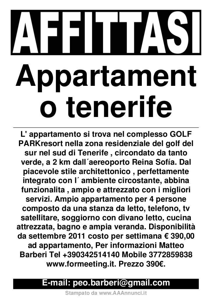 Appartament o tenerife L appartamento si trova nel complesso GOLFPARKresort nella zona residenziale del golf del   sur nel...