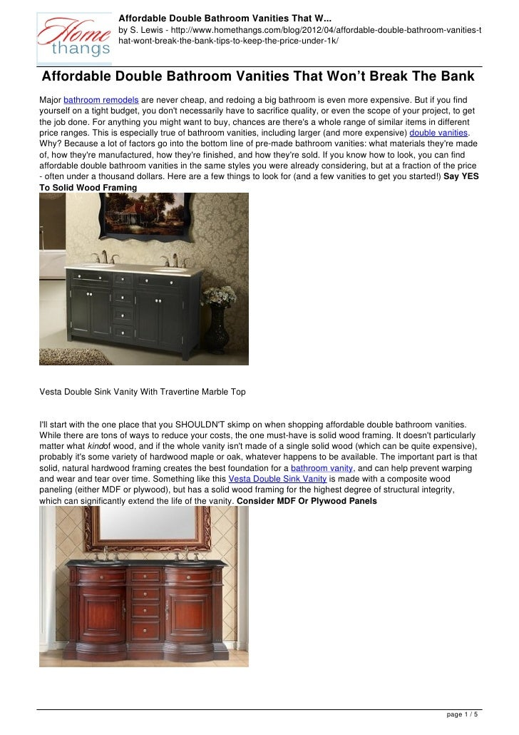 Affordable Double Bathroom Vanities That W...                     by S. Lewis - http://www.homethangs.com/blog/2012/04/aff...