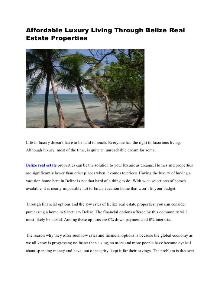 Affordable Luxury Living Through Belize Real Estate Properties