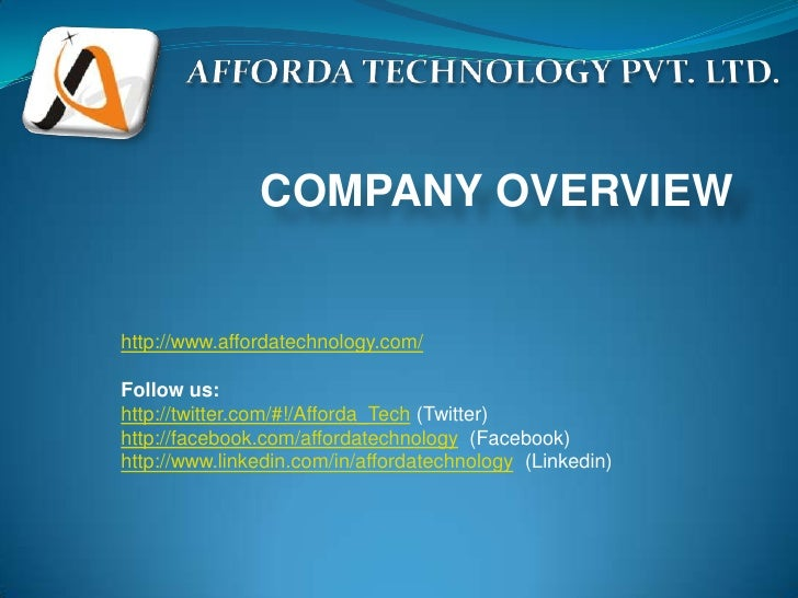 COMPANY OVERVIEWhttp://www.affordatechnology.com/Follow us:http://twitter.com/#!/Afforda_Tech (Twitter)http://facebook.com...