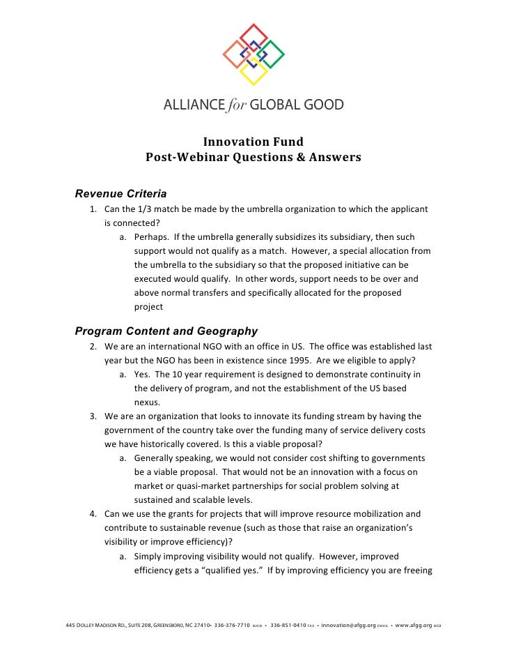Alliance for Global Good Innovation Fund Post Webinar Q&As 20120615