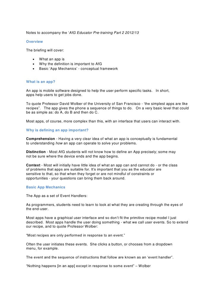 Notes to accompany the 'AfG Educator Pre-training Part 2 2012/13OverviewThe briefing will cover:       What an app is    ...