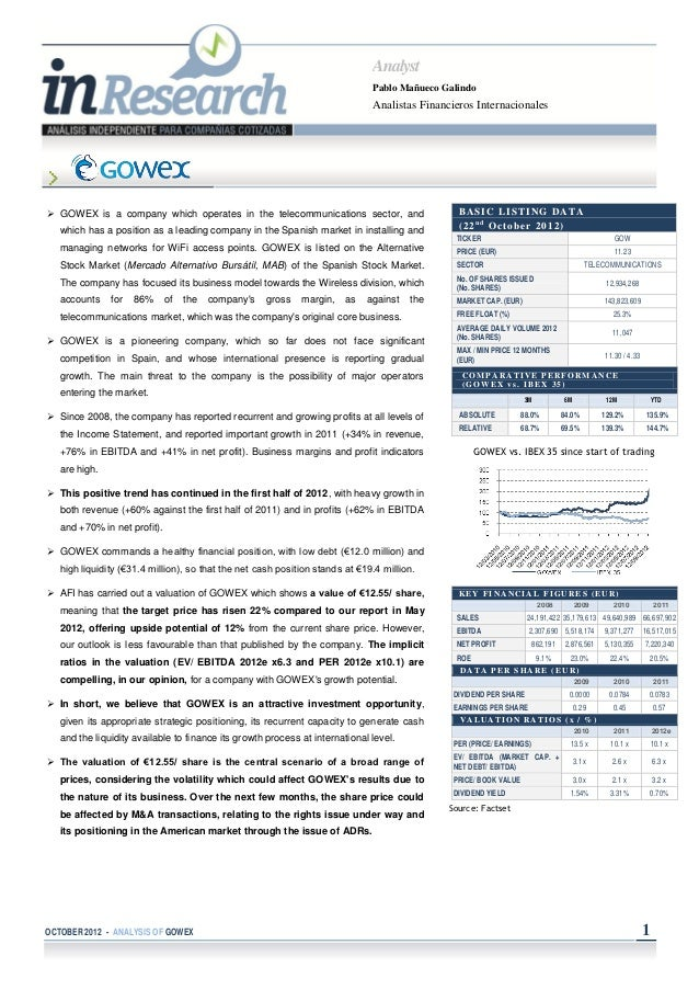 GOWEX coverage analysis by AFI - Oct 2012