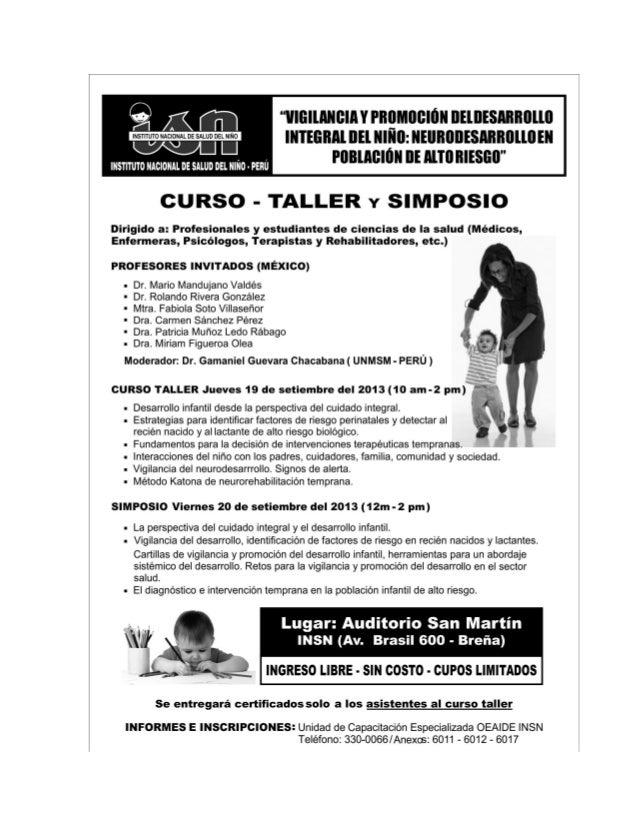 Afiche Curso taller y Simposio Vigilancia de Neurodesarrollo en Población de alto riesgo INSN setiembre  2013