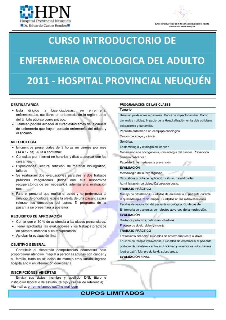 Afiche - Curso Introductorio Enfermeria Oncologica 2011