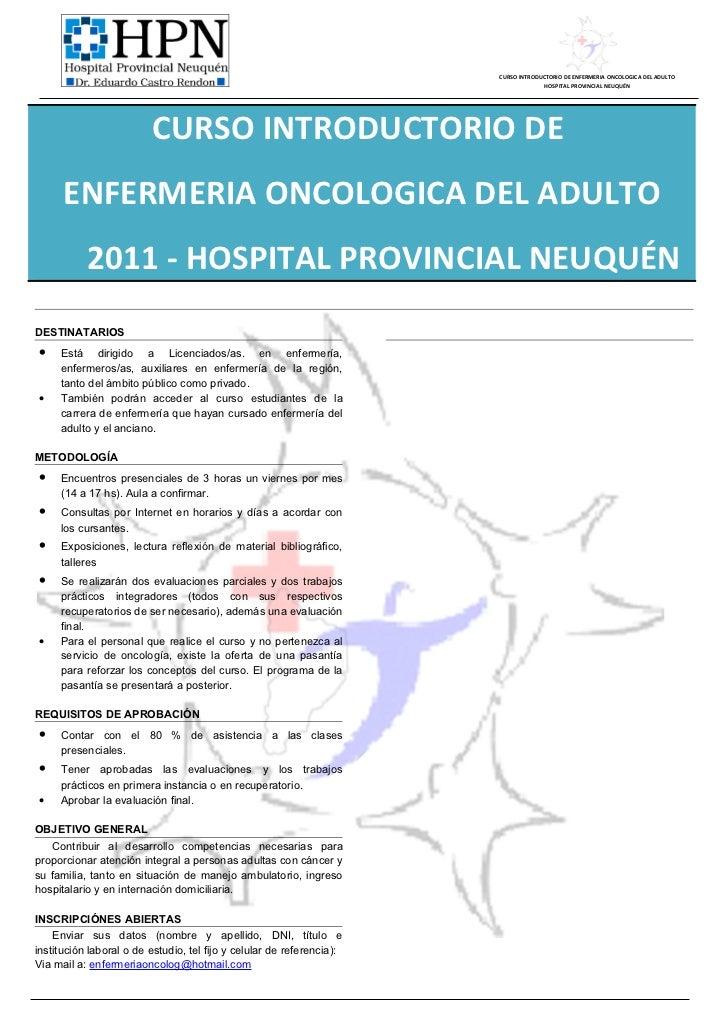 CURSO INTRODUCTORIO DE ENFERMERIA ONCOLOGICA DEL ADULTO                                                                   ...
