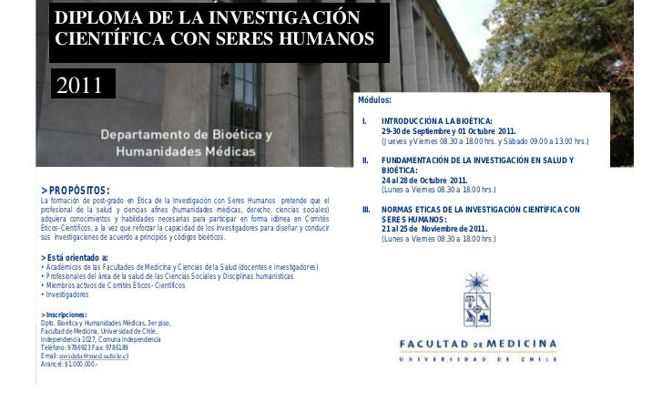 DIPLOMA DE LA INVESTIGACIÓN      CIENTÍFICA CON SERES HUMANOS       2011                                                  ...