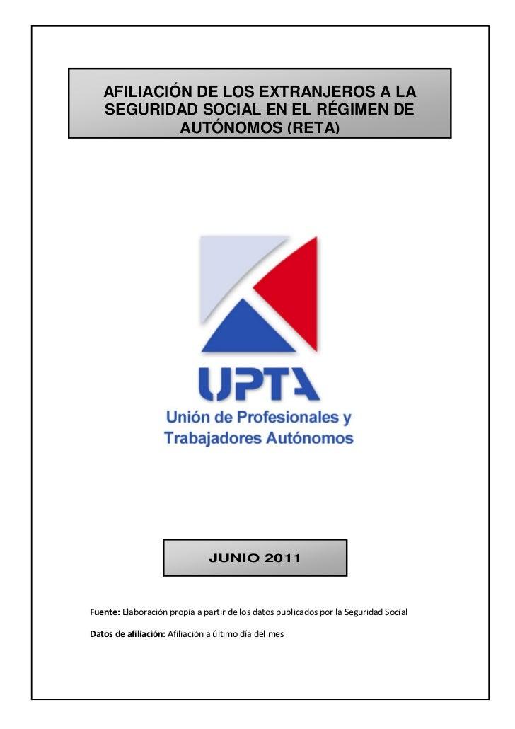 Informe RETA sobre 'Afiliación de extranjeros a la seguridad social en el régimen de autónomos'